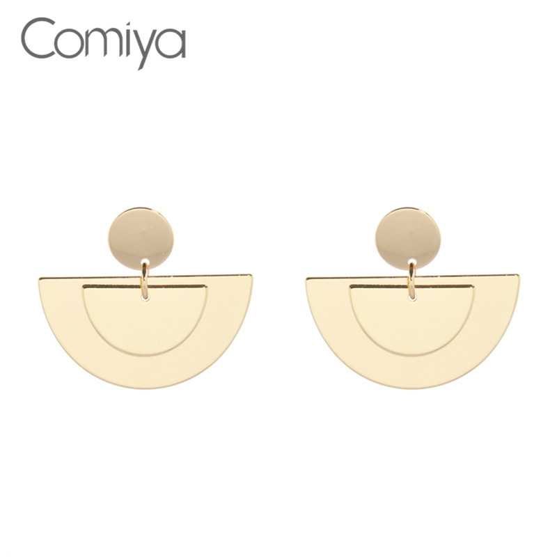Comiya Dangle Earring Gold Color Alloy Geometric Pendants Acrylic Drop Earrings Exaggerated Fashion Jewelry Accessories Bijoux