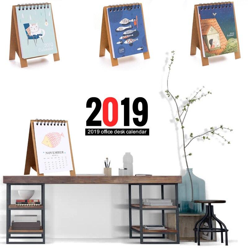 100% Wahr Hand Zeichnung 2019 Frische Cartoon Mini Flamingo Desktop Papier Kalender Dual Täglichen Scheduler Tisch Planer Jährlich Agenda Organizer Bequem Zu Kochen Office & School Supplies