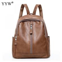 YYW Women Pu Leather Backpack Multi-Functional School Bags For Teenager  Mochila Feminina Mujer Bagpack Brown Travel Backpacks fc9acb6fb9
