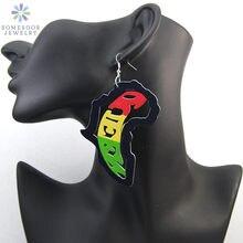 Somesoor напечатанные афро королевы деревянные серьги подвески