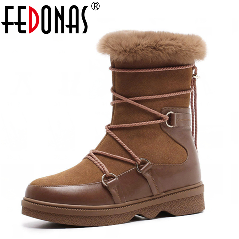 FEDONAS Autumn Winter Ankle Boots For Women Thick High Heels Genuine Leather Shoes Warm Plush Snow Motorcycle Boots Shoes Woman fedonas fashion women cow suede genuine leather warm wool plush snow boots winter shoes woman heels ankle boots casual shoes