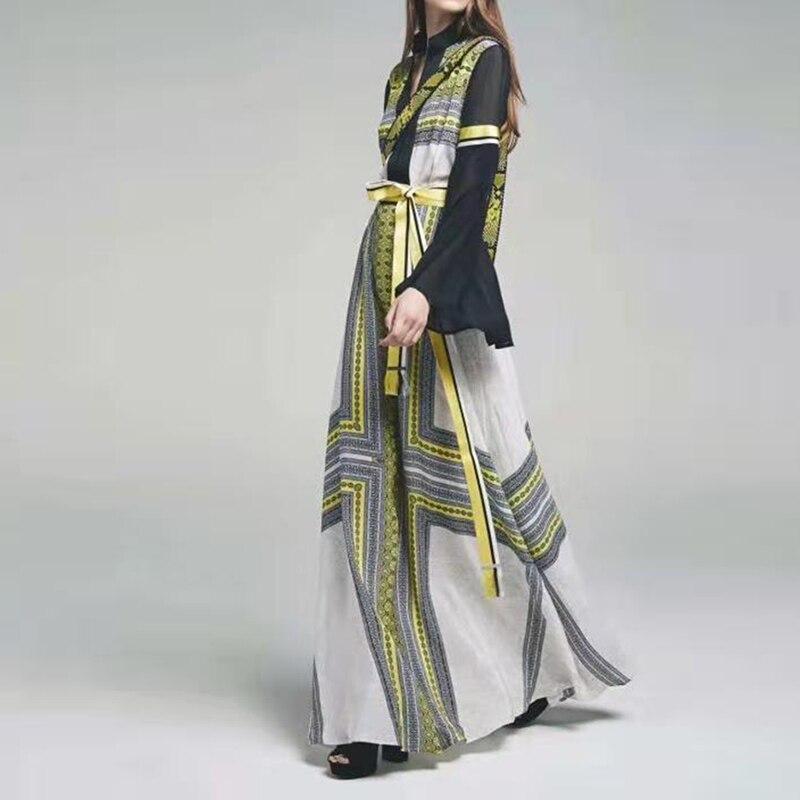 คุณภาพสูงใหม่แฟชั่น 2019 Designer Maxi ชุดผู้หญิง Flare แขนเสื้อสี Block พิมพ์ลายดอกไม้ยาว-ใน ชุดเดรส จาก เสื้อผ้าสตรี บน   1