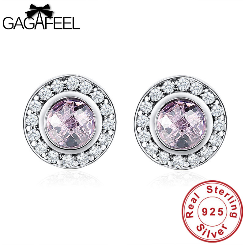 GAGAFEEL New Arrival 100% 925 Sterling Silver Pink Stone Round Push Back Stud Earrings for Women Fashion Jewelry Charms Dropship