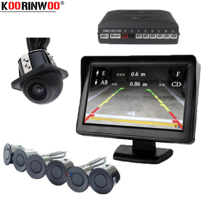 Koorinwoo Ultrasonic Electric Car Parking Sensor 6 Front Rearview camera Alert Radar Step up Parktronic With 4.3 Screen Display