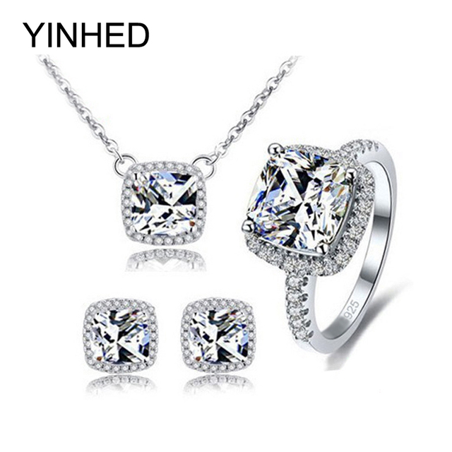 YINHED 925 Sterling Silver Bridal Jewelry Sets Top Quality AAA+ 4ct CZ Diamant Wedding Stud Earrings Necklace Ring Sets ZSH008