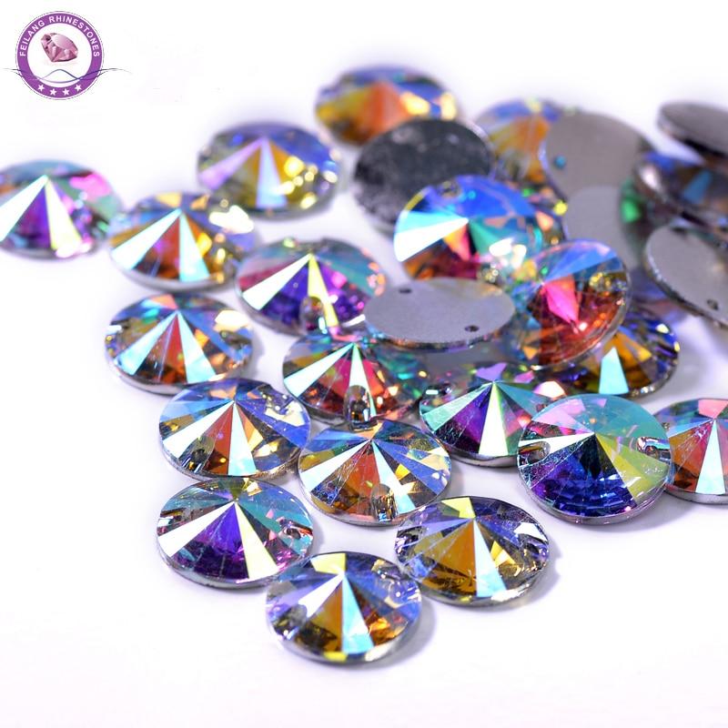 100pcs/Lot Round Clear Sew on Resin Crystal AB FlatBack