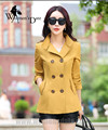 WomensDate 2016 Осень Новые Моды для Женщин Желтый Slim С Коротким Пальто С Длинными рукавами Двубортные Женщины Тренчкот