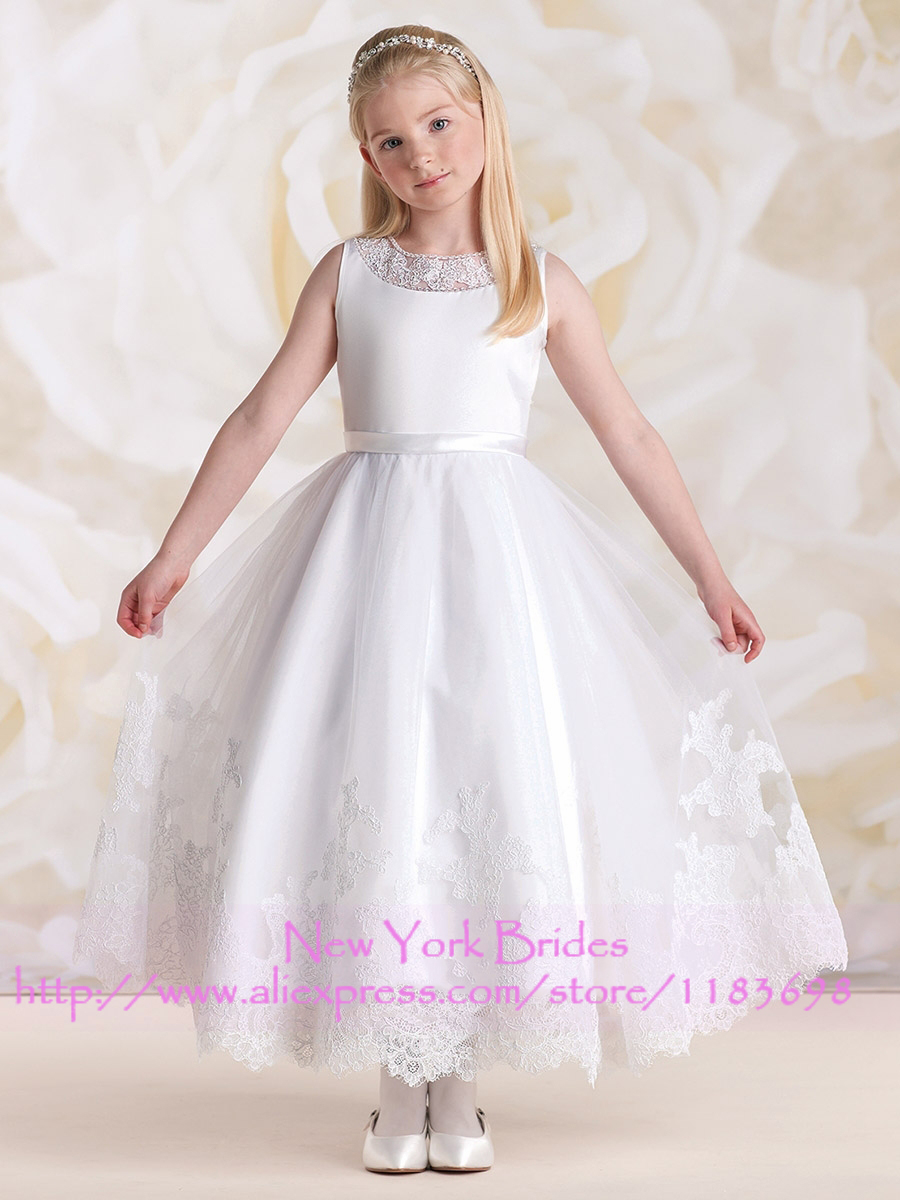2017 First Communion Dresses Ankle Length Scoop Tank Appliques Tulle