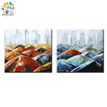 hand painted modern absract art painting umbrella on the street canvas picture bumbershoot city landscape wall art new york city