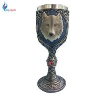 Upspirit Animal Cartoon Wolf King Drinking Mugs Goblet Beer Coffee Milk Tea Drinking Mug 3D Resin+Stainless Steel Drinkware