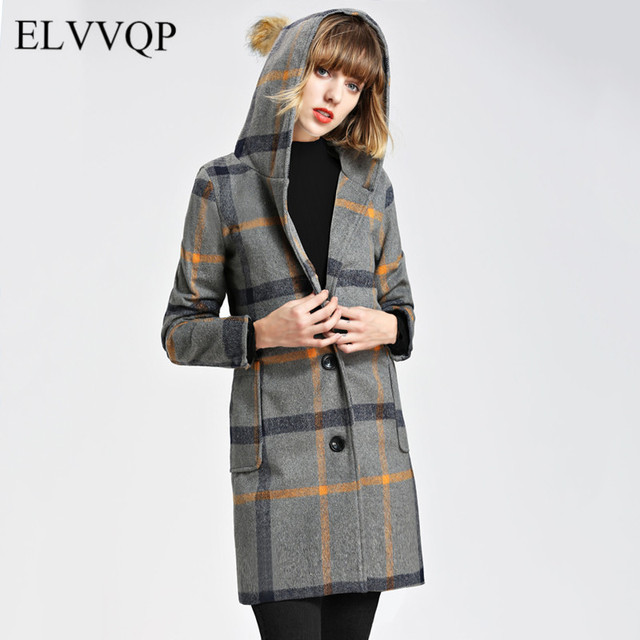 9cdf6ad1d89 Korean Cashmere Coats And Jackets Women Wool Coat Plus Size Slim Long  Sleeve Hooded Woolen Coats 2018 Plaid Windbreaker NW474