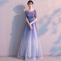 Blue Tapered Elegant Cheongsam Round Neck Female Slim Dress 2019 New Noble Full Length Tasseled Star Skirt Plus Size 3XL