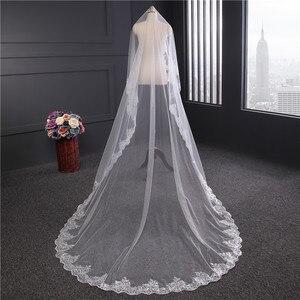 Image 2 - הגעה חדשה אביזרי חתונה קוריאני סגנון אפליקציות תחרה 3m * 1.5m קתדרלת רעלה התחרה Edge כלה רעלה ללא מסרק