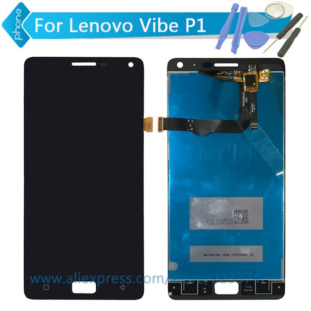 Para lenovo vibe p1 lcd screen display toque digitador assembléia preto ou ouro + ferramentas