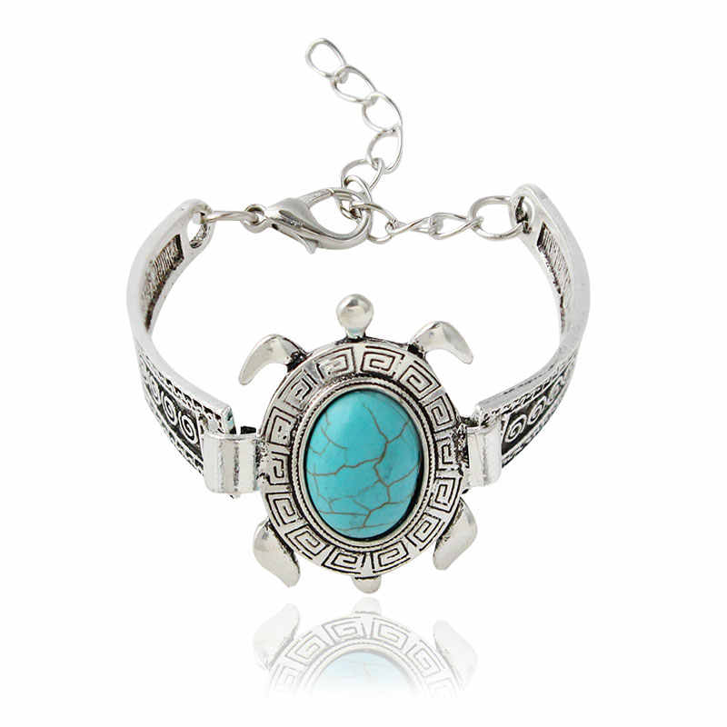 F&U Antique Silver Color Turtle Stone Adjustable Size Chain Bracelet Bangle for Girls Gift Bijoux