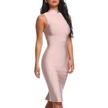 INDRESSME Midi Women Bandage Party Summer Dress Fashion Turtleneck Sleeveless Bodycon Dress Vestidos Wholesale 2018