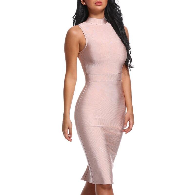 INDRESSME Midi Women Bandage Party Summer Dress Fashion Turtleneck Sleeveless Bodycon Dress Vestidos Wholesale 2019