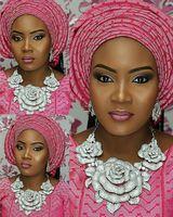 African Nigerian Wedding Jewelry Sets Indian Jewelry Set Big Silver Flower Necklace Earrings Set Women Jewelry Set WC003