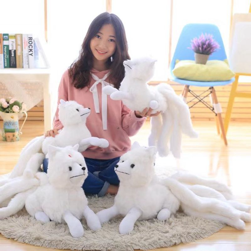 Candice guo plush toy stuffed doll cartoon animal Kyuubi Kitsune nine tail white fox TV model To the Sky Kingdom model gift 1pc image