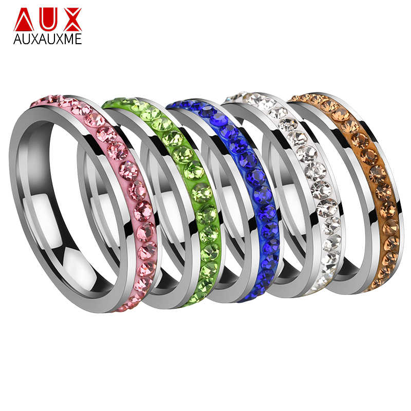 Auxauxme Titanium Steel Single Row Line Crystal Wedding Ring For Women Elegant Engament Ring Gift For Anniversary Love Jewelry