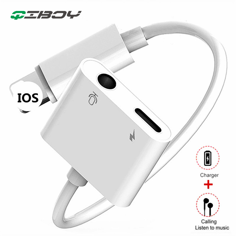 For Lighting To 3.5mm IPhone Headphone Jack Charger 2 In1Audio For Iphone X XS XR Max 7 8 Plus AUX Plug Earphone Charge Adapter