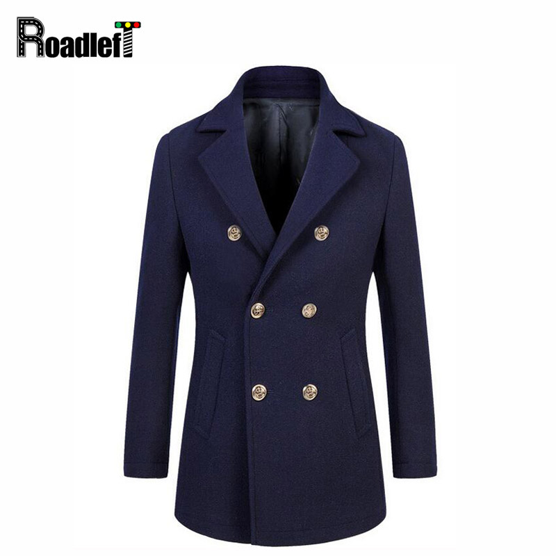 High-grade New Fashion Brand Clothing Jacket Men Wool Coat Double-breasted Pea Coats Mens Navy Blue Wool Blends Winter Coat