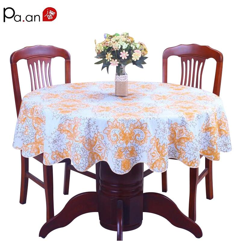 Pastorale tovaglia di plastica impermeabile IN PVC stampato floreale rotondo copertura di tabella decorazione di nozze a casa tavolo manteles para mesa
