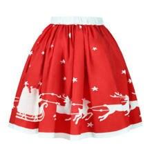 bdf75aba00b 2017 Для женщин Рождество вечерние Высокая талия партии плиссированная юбка  бюст Петти пузырь Санта-Снежинка