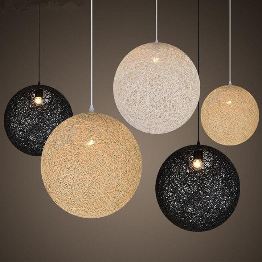 Nordic Modern Pendant Lights Dia 30 35 40 45 50CM Handmade Hemp Ball LampShade Hanging Lamp For Cafe Restaurant Lighting Fixture