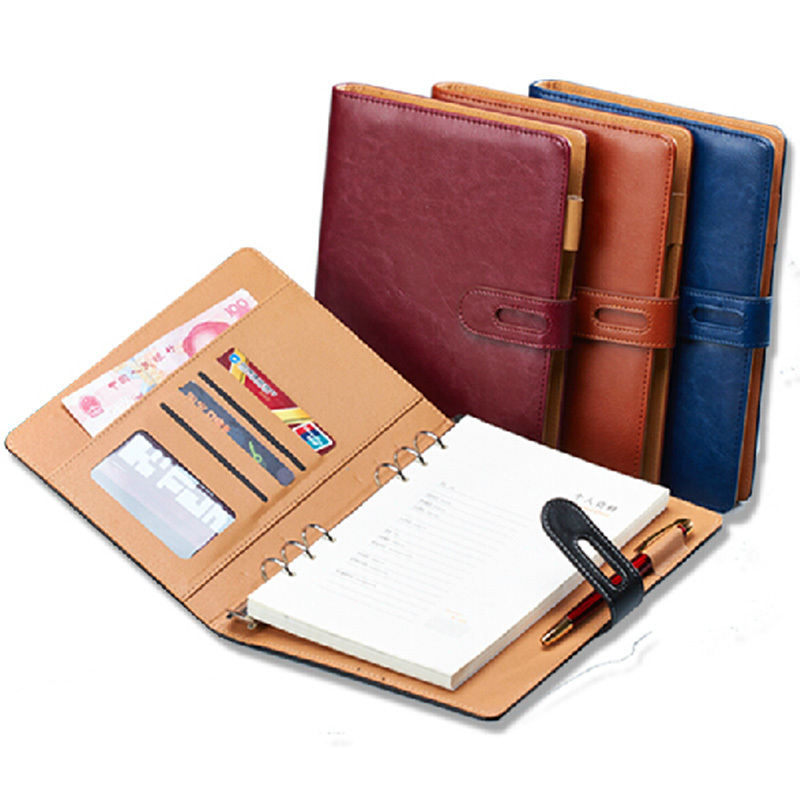 купить A6 A5 B5 A4 filofax business PU leather diary cover agenda blue/wine/black/ office professional planner book WJ-XXWJ372- онлайн