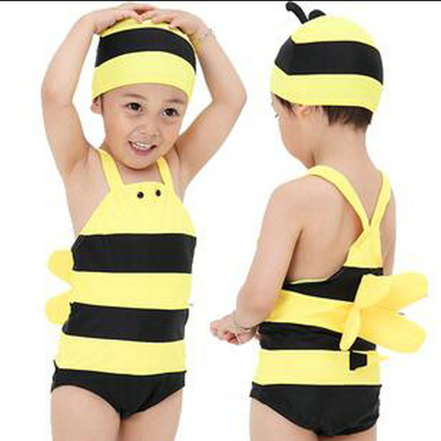 2017 Summer Baby Boys Swimsuit One Piece Suits Cute Yellow Bee Children s  Swimwear with Swimming Cap UV Beach Clothes Hot Sale ddc4c2f2db51