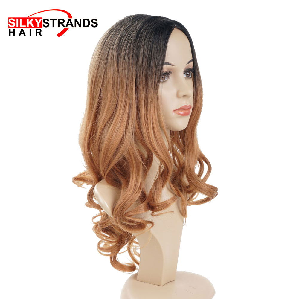 Silky Strands Black Brown Ombre Colors Long Wavy Synthetic Wigs For Women Heat Resistant Cosplay Wigs High Temperature Fiber