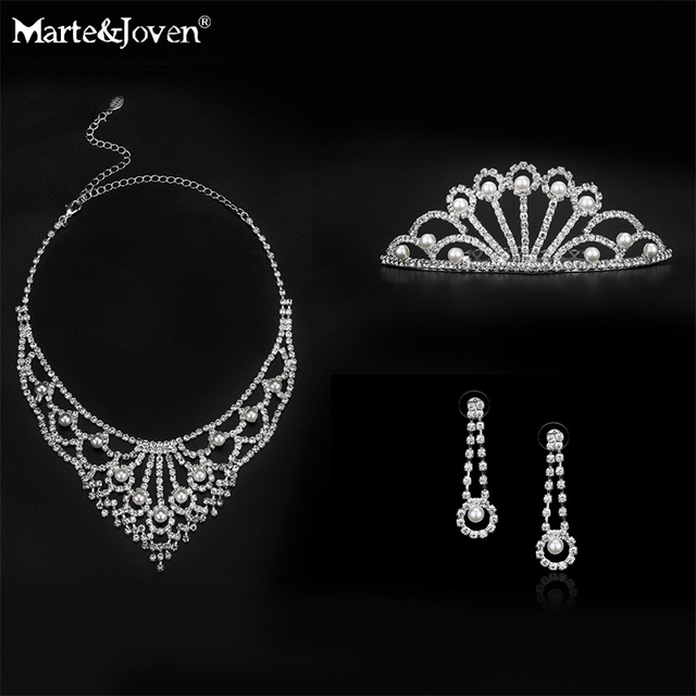 New Fashion Luxurious Full Crystal Bridal Jewelry Sets Silver Plated Glass Statement Necklace/Earrings/Tiaras Wedding Jewelry