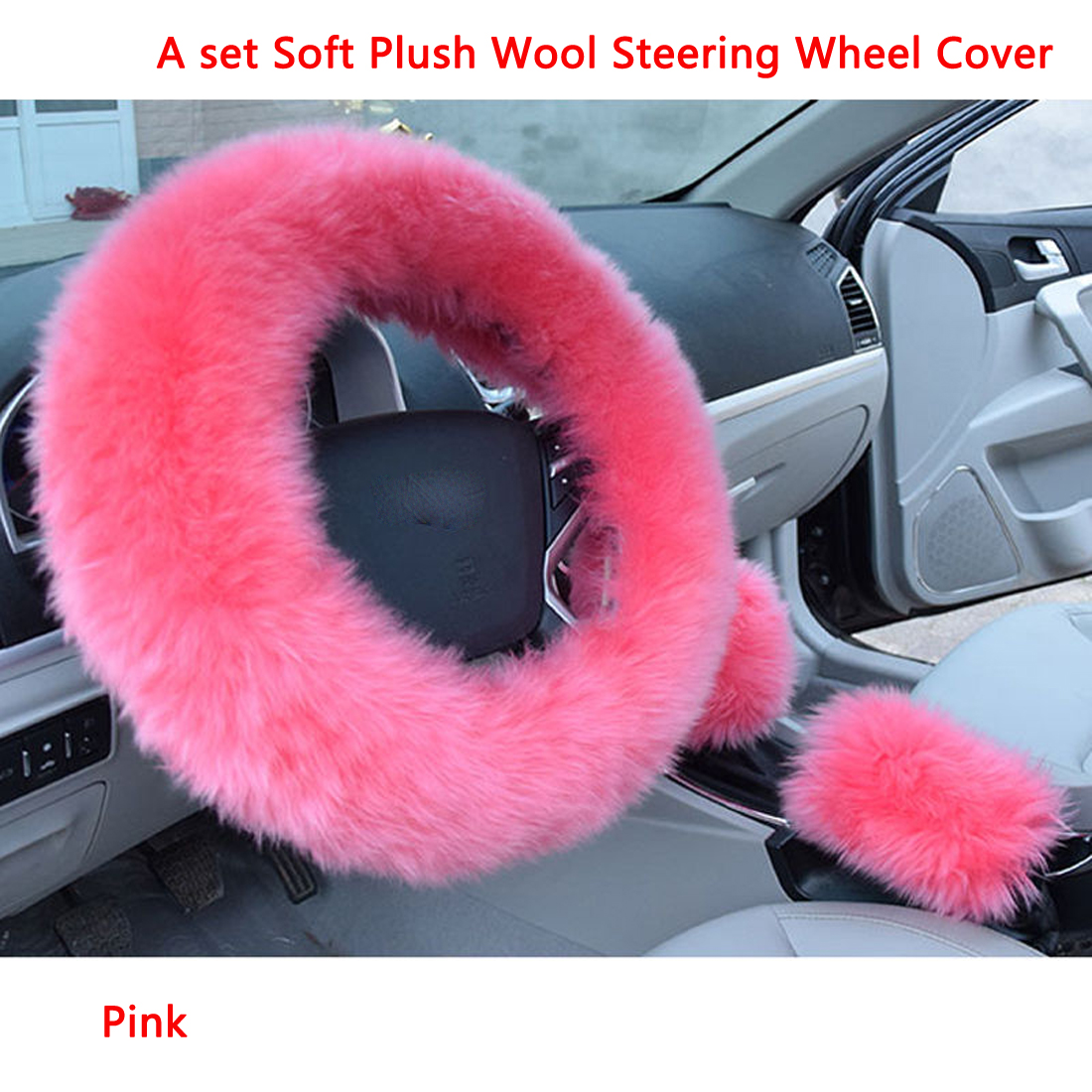 Dongzhen Auto Car Steering Wheel Cover Universal Soft Warm Wool Plush Winter Fur Handle Sleeves Supplies Car Accessories 1 Set