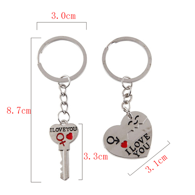 1 Pair Couple I LOVE YOU Letter Keychain Heart Key Ring Silvery Lovers Love Key Chain Souvenirs Valentine's Day Jewelry Gifts 4