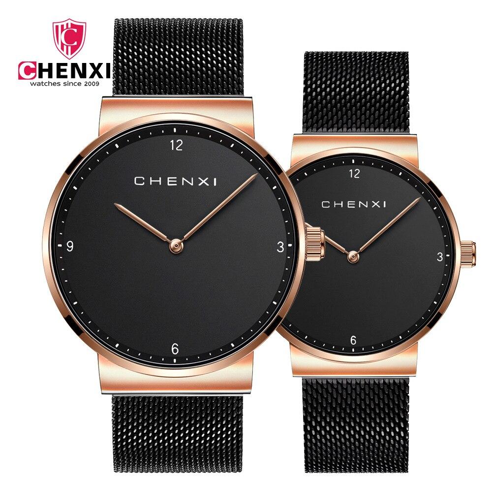 CHENXI Brand Fashion Lovers Wristwatches Men Women Dress Quartz-Watch Mens Casual Mesh Strap Ultra Thin Clock Rose Gold Watches