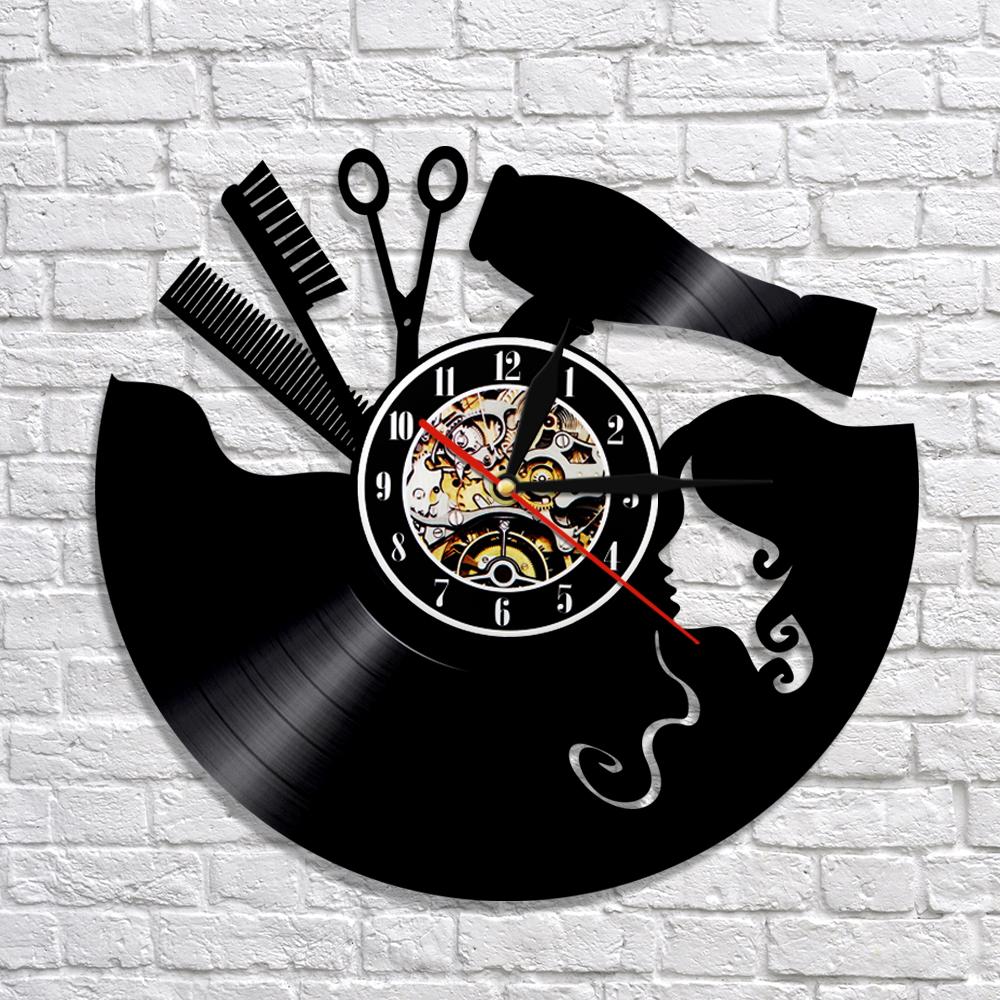 Groot Bestek Voor Aan Muur.Kapper Wandklok Modern Design Vinyl Record Klokken Led Verlichting