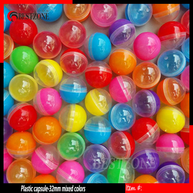 32mm 100pcs Plastic Empty Toy Vending Capsule Half Clear Half Color Capsule Ball 1-1/4