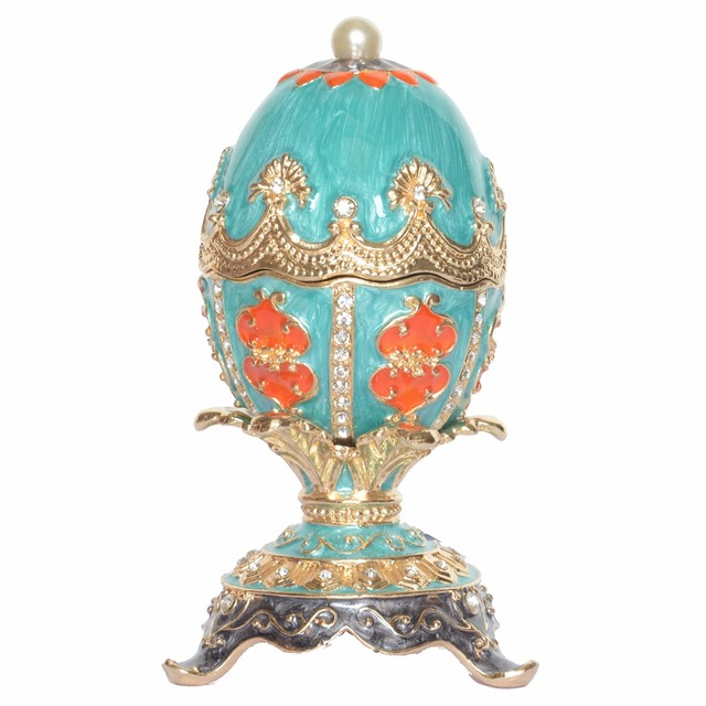 Easter blue russian faberge egg jewelry trinket ring box vintage easter blue russian faberge egg jewelry trinket ring box vintage decor metal alloy crafts birthday gift negle Gallery
