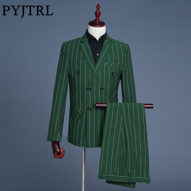 PYJTRL Brand 2018 Three Piece Green Plaid Double Breasted Wedding Suits Tide Men Fashion Casual Slim Fit Tuxedo Singers Costume