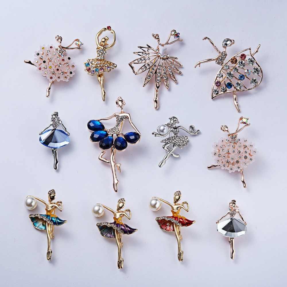 Rinhoo Senam Gadis Bunga Penari Crystal Bros untuk Wanita Lucu Pin Perhiasan Berkualitas Tinggi Korsase Fashion Pernikahan Perhiasan