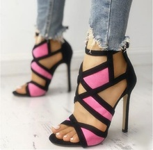 Contrast Color Caged Bandage Heeled Sandals Mixed Patchwork Peep Toe Cut-out Ladies Dress Shoes Thin Heels Women Pumps Size 10