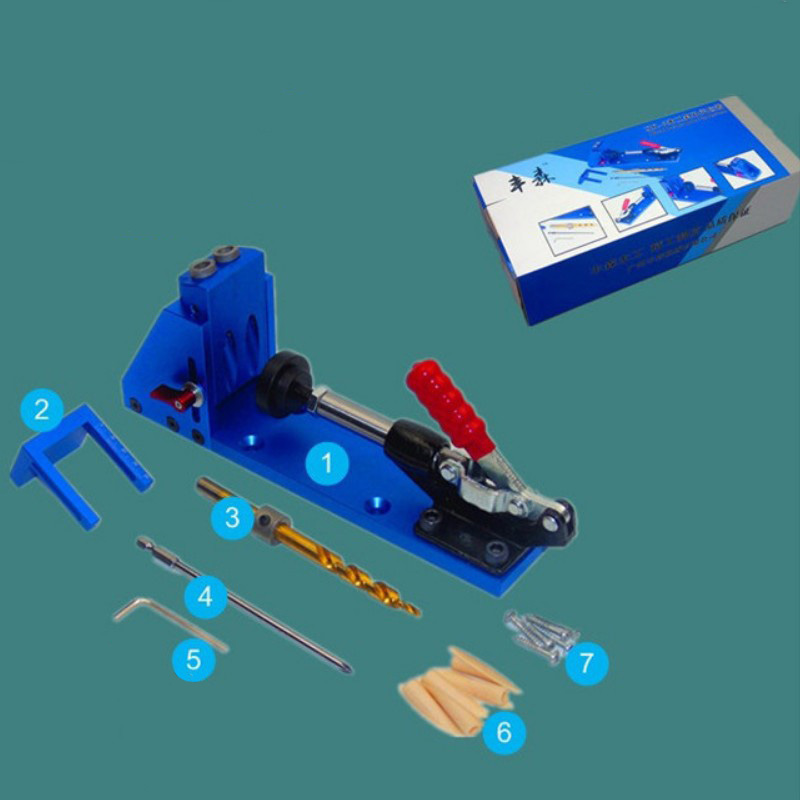 Woodworking Guide System inclined hole drill tools clamp base Drill Bit Kit System Pocket Hole Jig