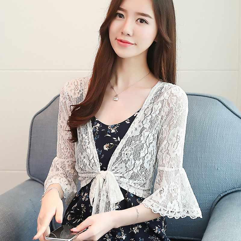 Bahar yaz Moda See-through Dantel bluz Uzun Kollu Hırka Rahat Gevşek Tığ Kadın Üstleri Artı Boyutu gömlek Hırka