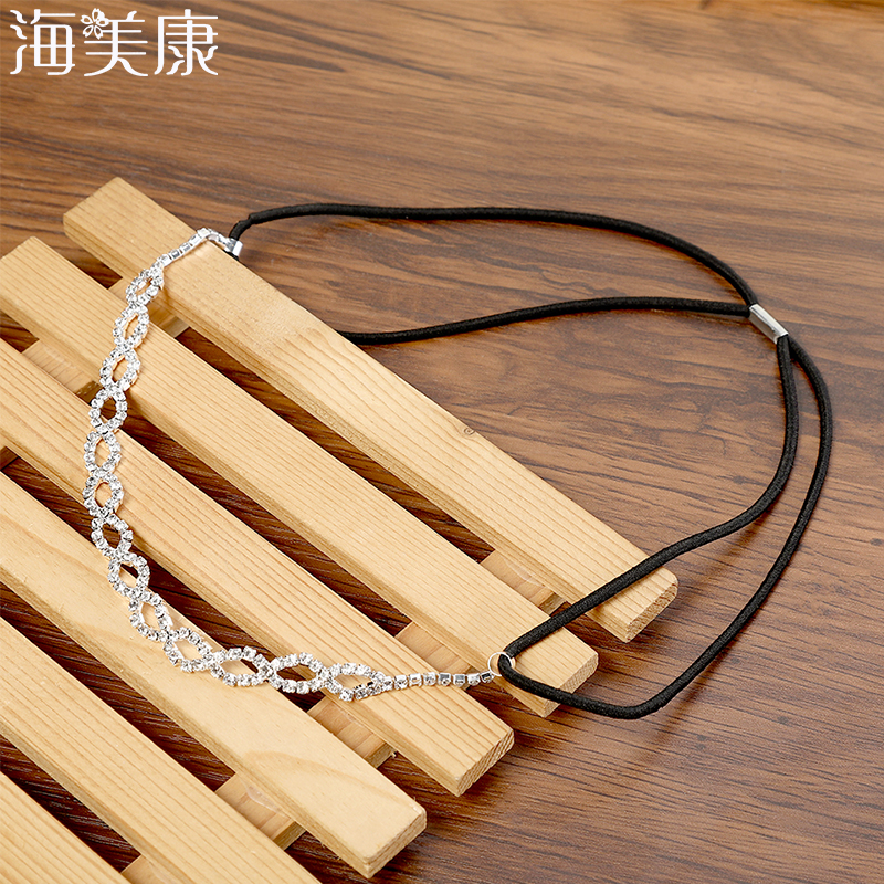 Haimeikang Simple Rhinestone Headband For Women White Headband Hair Accessories Forehead Head Chain Headpiece Jewelry Girl Gift