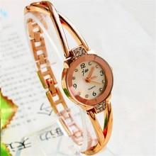 Feitong Gold Watches Women Luxury Brand Dress Bracelet Watch 2017 Quartz Casual Rhinestone Wristwatch Clock Relogios Femininos