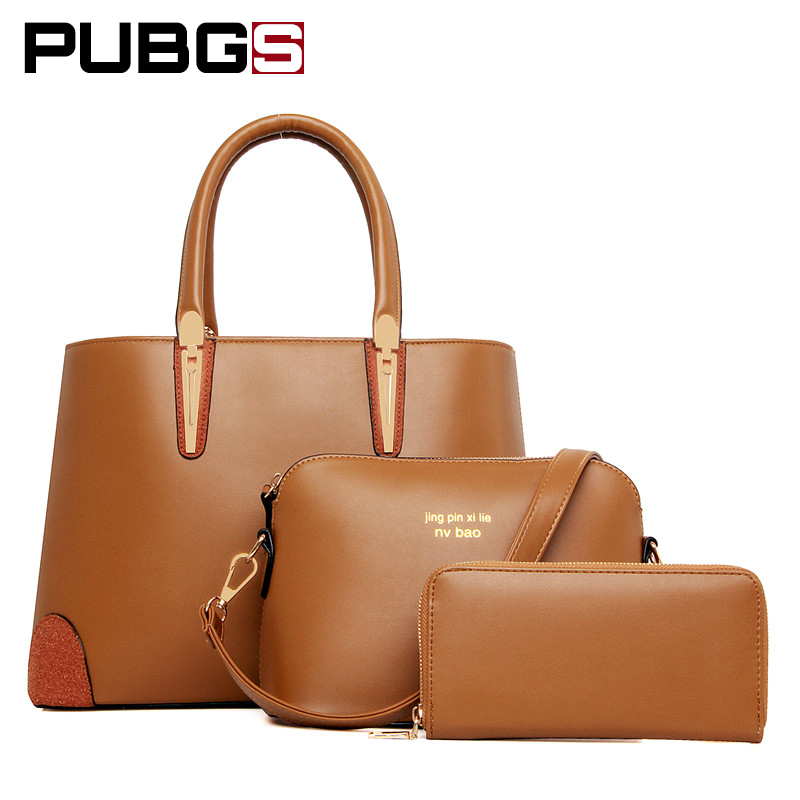 Women's Handbags Female Bags High Quality Luster Leather PU Noble Fashion Variety Delicate Large Capacity 3-Piece Set PUBGS 2018