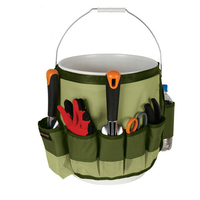 MDSTOP Green Grey Garden Tool Organizer Bag Garden Storage Organizers Multi-pockets Portable Waist Bags Tool Holder Kit