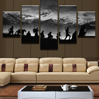 5 Panel Hunting Move Wall Art Decorate Movie Portrait Poster Tableau Decoration Murale Salon Watercolor Painting On Canvas Moder