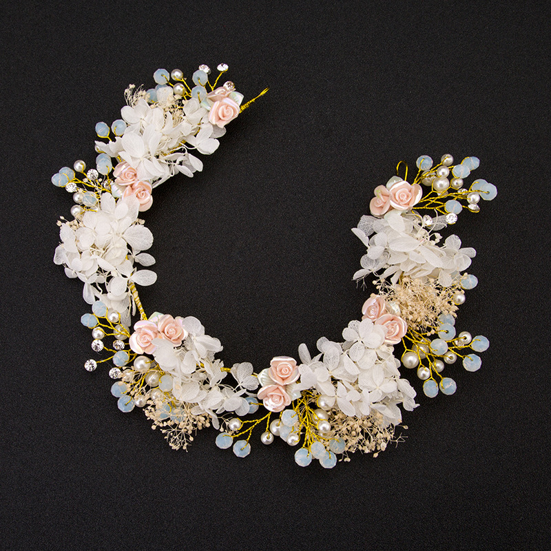 2018 New Handmade Luxury Prom Wedding Hair Accessories Hair Jewelry Bridal Flower Headdress Pearl Beads Headpieces For Brides